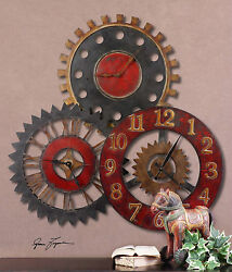 NEW LARGE 35 ANTIQUED METAL WALL CLOCK COLLAGE THREE CLOCKS GEAR STYLE VINTAGE