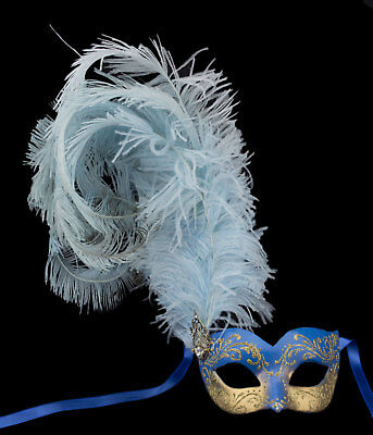 Mask Venice Colombine Ondine Feathers ostrich blue golden Paper mache 22427
