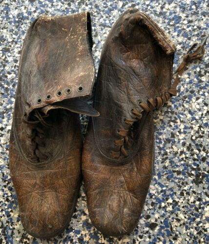 Antique Brown High Top Ladies Lace Up Shoes Found in Attic