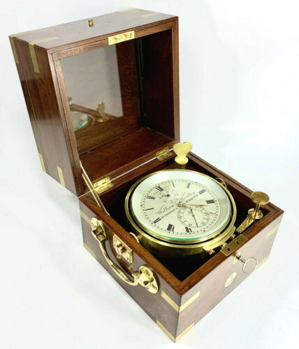 Beautiful Antique 1894 Wm WORDLEY English Marine Ship Chronometer Running Strong