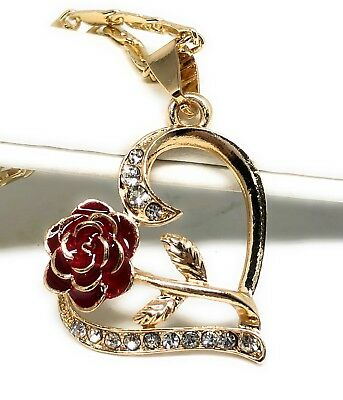 "Gold Plated Heart Rose Pendant Necklace Chain 24"" Corazón Con Flor Medalla ()"