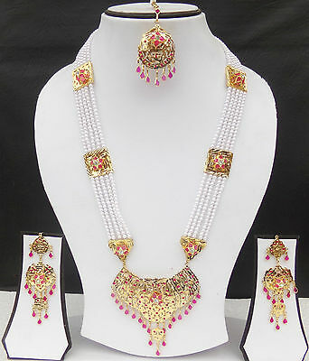 Ethnic South Indian Bridal Jewelry Traditional Pearl Necklace Earrings Tikka Set