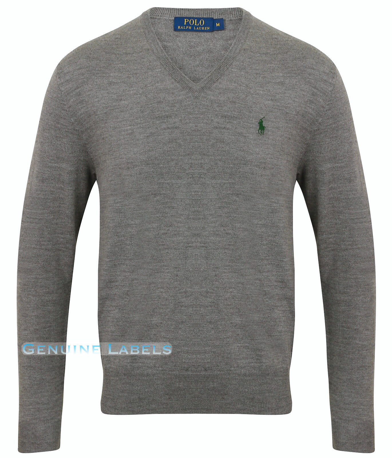 228618778eea8 Ralph Lauren Polo Mens Grey V Neck Merino Wool Jumper M-XXL RRP £125  GENUINE!