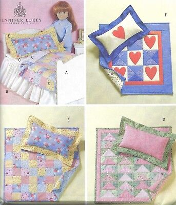 Doll Bed Furniture Bedding Quilt Pillow Sewing Pattern UNCUT 18 Inch Dolls