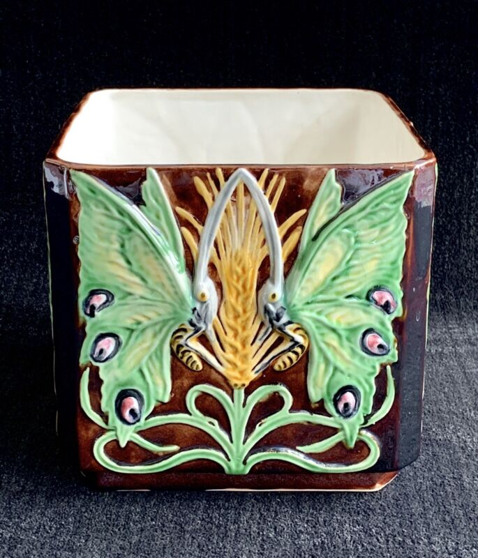 Antique Majolica Planter ~ Jardiniere ~ Butterfly ~ Butterflies ~ marked