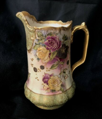 Vintage HT Morggan Adderleys England Pitcher with Painted Flowers Colonial House