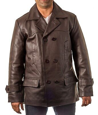 Mens Dr Who Brown Military Double Breast U-boat Cowhide Leather Peacoat jacket