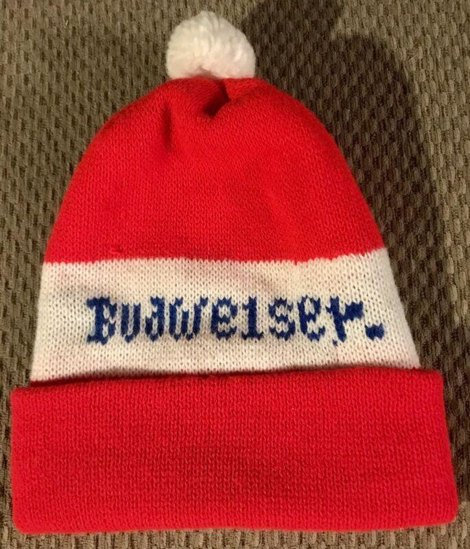 Vintage Red & White BUDWEISER Beer Knit Stocking Cap Beanie Pom Pom