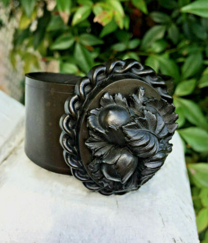 Antique Victorian Gutta Percha Floral & Foliage Cameo Mourning Cuff Bracelet