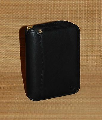 Black Pocket Franklin Covey Space Saver Planner Leather Zip Binder