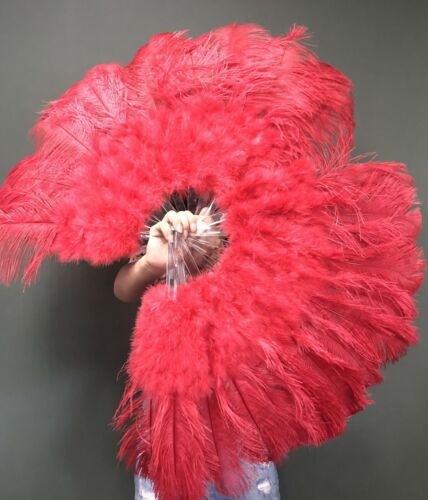 """Red 21"""" x 38"""" Marabou Ostrich Feather fan with Travel Bag"""