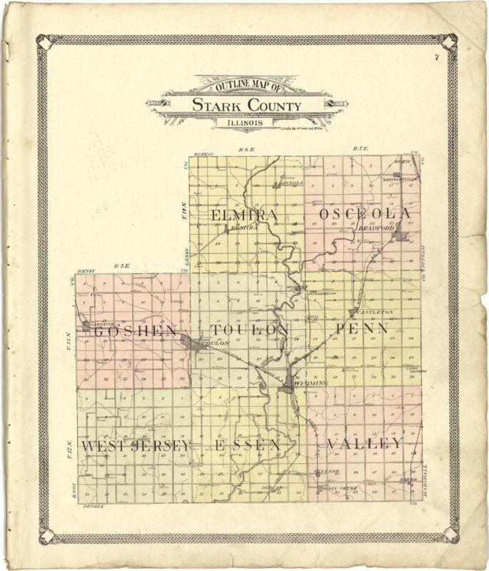 1907 ATLAS STARK COUNTY Illinois history plat maps GENEALOGY LAND OWNER DVD 124