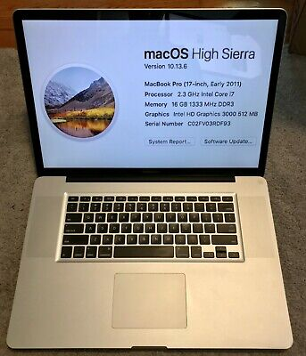 """17"""" A1297 APPLE MACBOOK PRO 2011 17"""", 2.3 i7, 16GB, 500gb HDD  63 battery cycles"""
