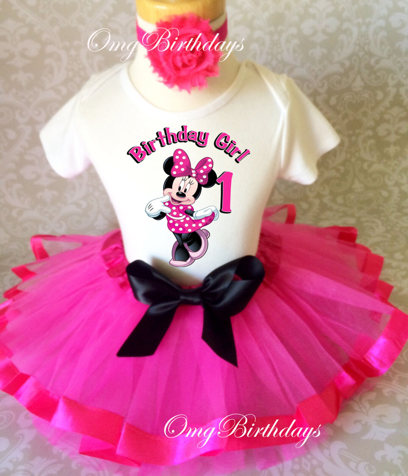 Minnie Mouse HOT PINK Black Baby Girl 1st First Birthday Tut