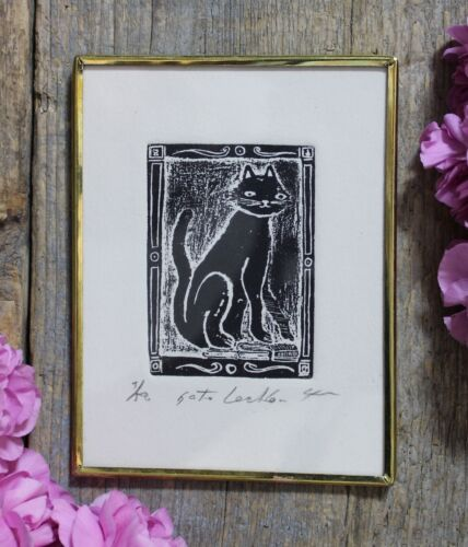 Smiling Black Cat Gato Framed Woodcut Print Mexican Folk Art by Genaro Abelar