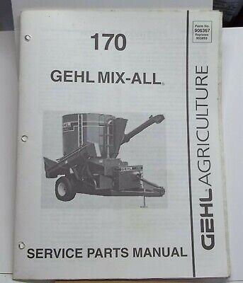 Gehl Farm Equipment Mix-all Model 170 Service Parts Manual Farm Implement