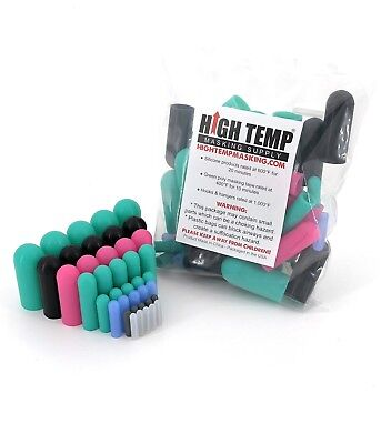 40 Piece High Temp Silicone Rubber Cap Kit - Powder Coating Cerakote Vacuum