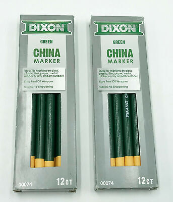 Lot Of 2x Dixon Industrial Phano Peel-off China Marker Pencils Green 12-pack
