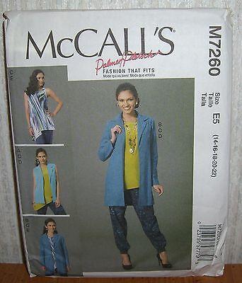 Womens/Misses Vest Jacket Tops Pants Sewing Pattern/McCall's M7260/SZ 14-22/UCN