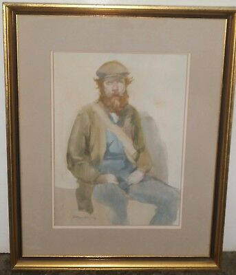 13 x 9 Young Workman with Beard Watercolor Painting-1975-Burt/Burton Silverman