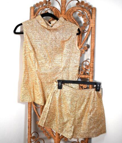 60s VTG ~ MOD GoGo / Hot Pants ~ Gold Metallic Tinsel Set ~ Shorts & Top S ~ MCM