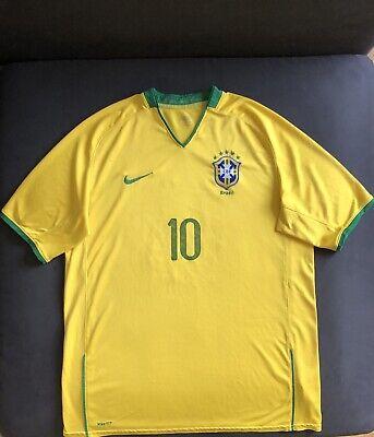 Nike Fit Brazil 2008-10 Home Soccer Jersey Shirt Size XL image
