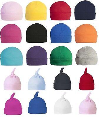 100% Cotton Newborn Baby Boy Girls Winter Double Layer Plain Beanie Hat Cap