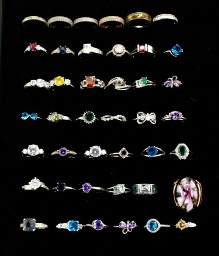Lot of 42 Silver Tone Rings with Various Colored Settings - Stones