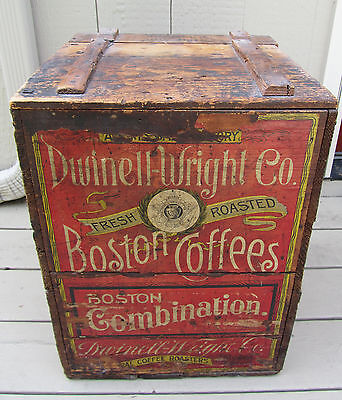 LGE ANTIQUE DWINELL-WRIGHT BOSTON COFFEE ROASTERS WOODEN CRATE BOX CHROMO LABELS