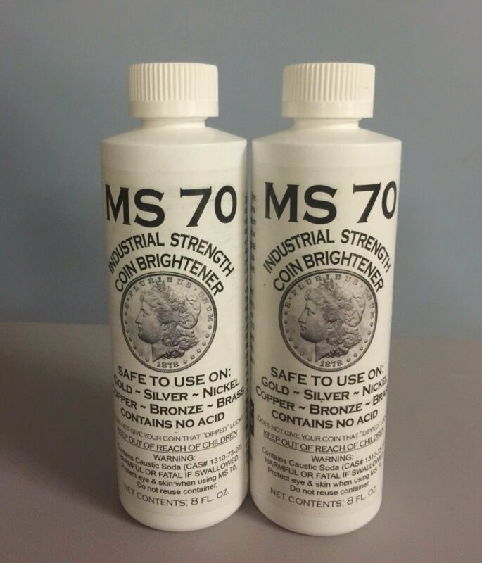 MS 70 INDUSTRIAL STRENGTH  COIN BRIGHTENER AND CLEANER for GOLD, SILVER 8OZ 2PK