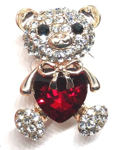 "teddybear Brooch pin clear red rhinestones gold tone1.5""x1"" mothers day gift #1"