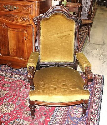 French Antique Upholstered Victorian Living Room Parlor Armchair c.1880 Living Room Upholstered Table