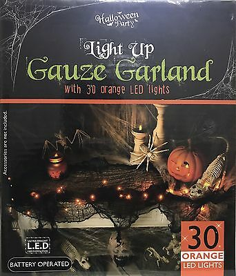 NEW HALLOWEEN PARTY LIGHT UP GAUZE GARLAND WITH 30 LED ORANGE LIGHT