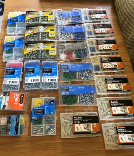 Lot of 24 Everbillt, Cobra, EZ Ancor, Hillman: Drywall Anchors, Screws, etc