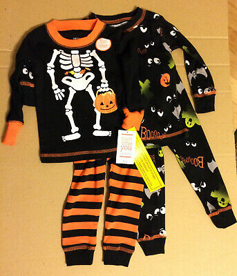 2 Sets Just For You12M Infant Halloween Pajamas with Glow in the Dark Characters (2 Characters For Halloween)