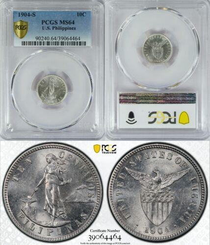 1904-S US/Philippines 10 Centavos ~ PCGS MS64 ~ 90% Silver ~ Allen#7.04 ~ 464