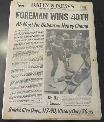 3/27/1974 - NY NEWSPAPER - GEORGE FOREMAN TKO'S' KEN NORTON IN HEAVYWEIGHT BOUT