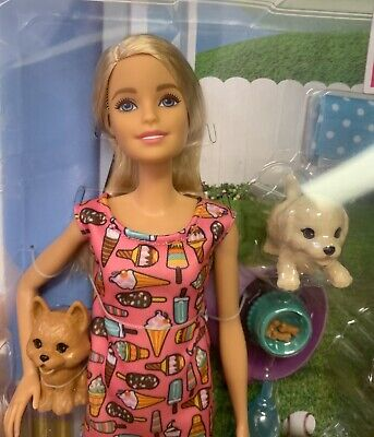 New Barbie Doggy Daycare Doll & Pets, Blonde Puppy Poop Drink Color