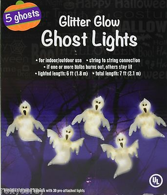 Glitter Halloween (Halloween 5 Glitter Glow Ghost Lights with 30 Pre-Attached Lights)