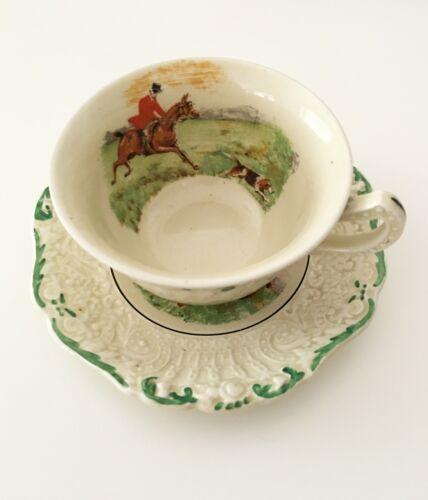 Vintage The Tally Ho Ridgeway Renaissance Embossed Textured Tea Cup Set The Hunt