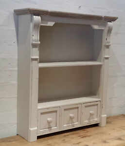 Vintage chic off antique white wall free standing shelf for Antique free standing kitchen cabinets