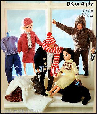 SINDY Barbie Ken ACTION MAN Knitting Pattern Copy DOLLS CLOTHES 16 Piece Set