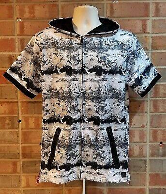ITALIA V1969 Zip Up Hoodie Short Sleeve Black White Size M Medium Street Wear Short Sleeve Zip Hoodie