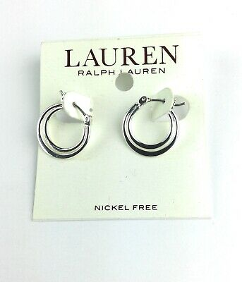 NEW Lauren Ralph Lauren Silver Tone Small Hoop Earrings Nickel Free Gift Bridal