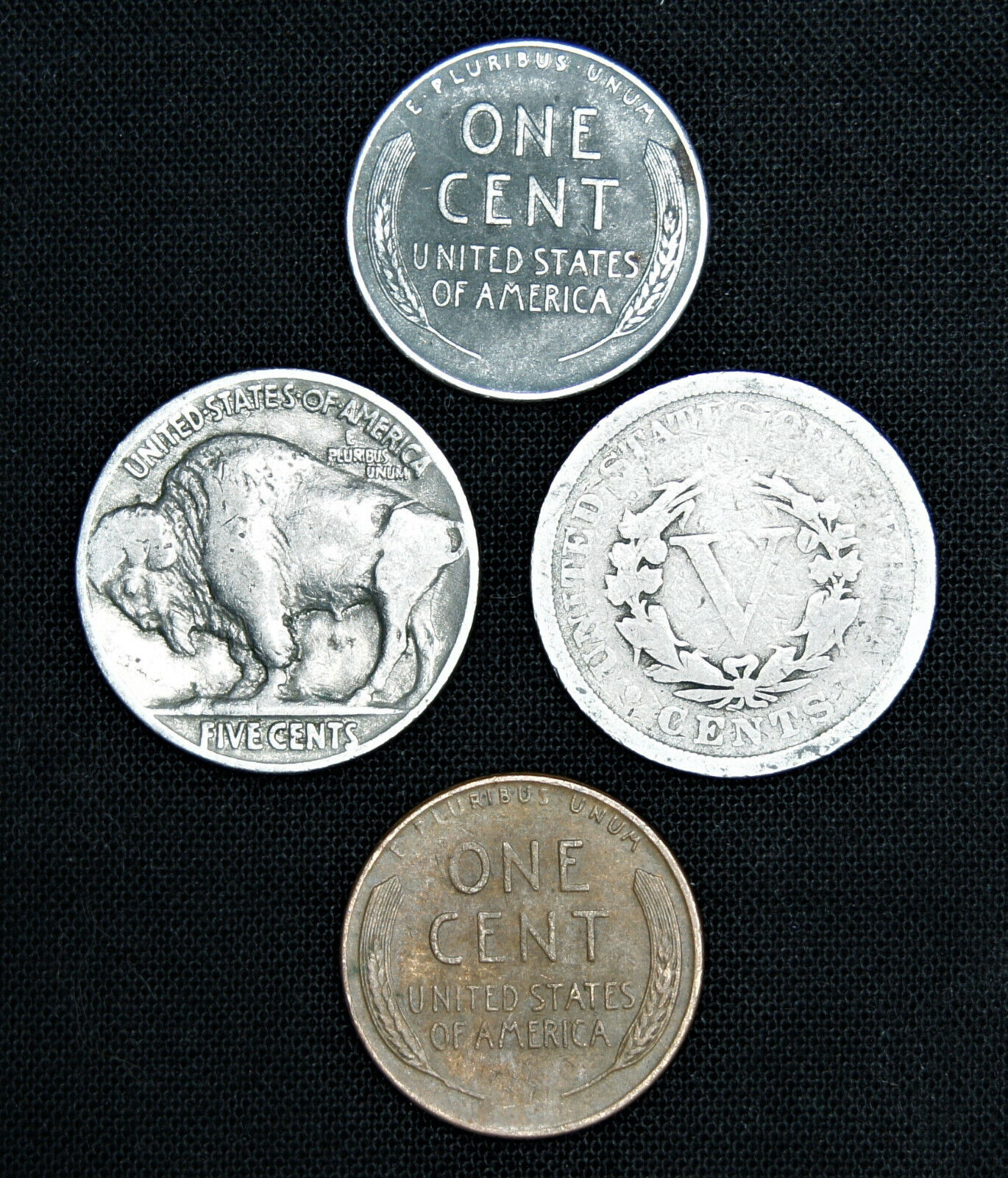 MIXED OLD US COIN COLLECTION LOT (4) - BUFFALO LIBERTY V NICKEL STEEL WHEAT CENT