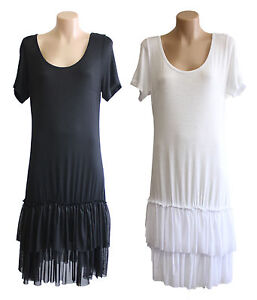 NEW-FILO-Short-Sleeve-Layering-Tunic-Dress-Slip-Tulle-Hemline-SIZE-8-10-12-14-16