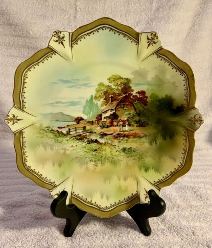 RARE RS PRUSSIA SCENIC PLATE...... SIGNED AND MINT!