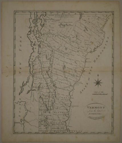 1796 Genuine Antique map of Vermont. John Reid