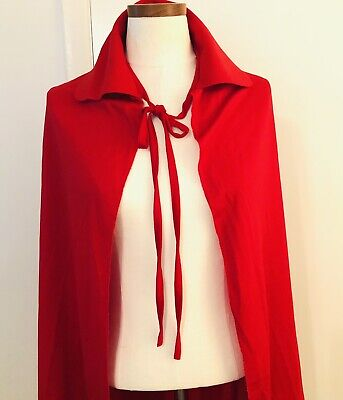 """Vintage Rubies Red Cape Collar Halloween Costume 36"""" Length One Size Made USA"""
