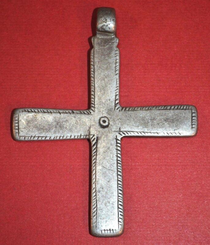 Antique Ethiopian Coptic Christian Cross Silver Pendant From Ethiopia, Africa